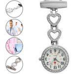 Ladies Heart Steel Nurse Doctor Tunic Brooch Quartz FOB Pocket Medical Watch 22