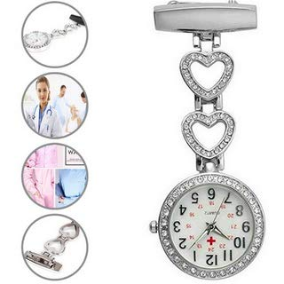 Ladies Heart Steel Nurse Doctor Tunic Brooch Quartz FOB Pocket Medical Watch 3