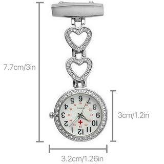 Ladies Heart Steel Nurse Doctor Tunic Brooch Quartz FOB Pocket Medical Watch 4