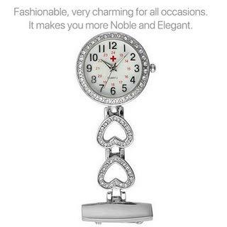 Ladies Heart Steel Nurse Doctor Tunic Brooch Quartz FOB Pocket Medical Watch 5