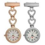Ladies Heart Steel Nurse Doctor Tunic Brooch Quartz FOB Pocket Medical Watch 25