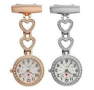 Ladies Heart Steel Nurse Doctor Tunic Brooch Quartz FOB Pocket Medical Watch 6