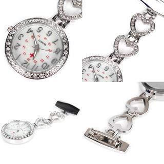 Ladies Heart Steel Nurse Doctor Tunic Brooch Quartz FOB Pocket Medical Watch 7