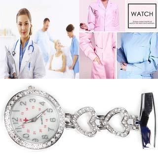 Ladies Heart Steel Nurse Doctor Tunic Brooch Quartz FOB Pocket Medical Watch 8