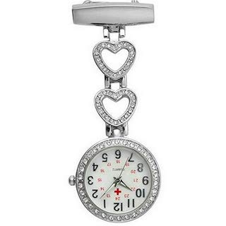 Ladies Heart Steel Nurse Doctor Tunic Brooch Quartz FOB Pocket Medical Watch 1