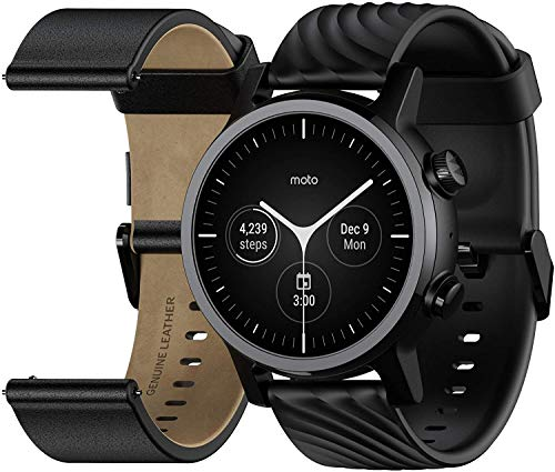 MOTO Motorola 360 3rd Gen Smartwatch - Stainless Steel Case With 20mm Bands, All-day Battery, & WearOs Black, One Size… 1