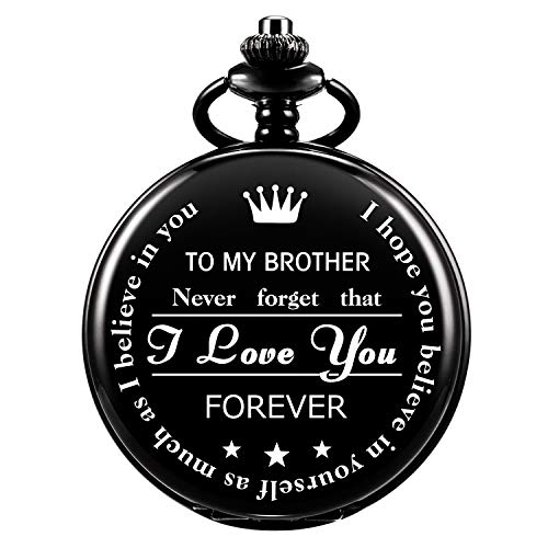ManChDa Personalized Engraved Pocket Watch to Brother, Vintage Pocket Watches with Chain for Men,Anniversary & Birthday… 1