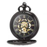 ManChDa Pocket Watch Lucky Dragon & Phoenix Vintage Mechanical Steampunk Skeleton Roman Numerals Black Fob Watch with… 18