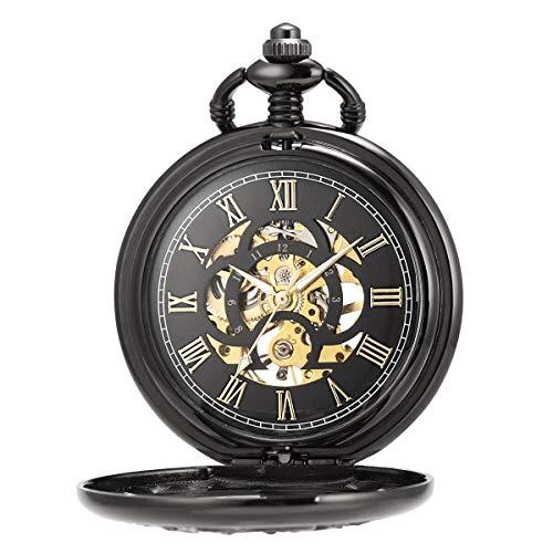 ManChDa Pocket Watch Lucky Dragon & Phoenix Vintage Mechanical Steampunk Skeleton Roman Numerals Black Fob Watch with… 3