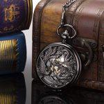 ManChDa Pocket Watch Lucky Dragon & Phoenix Vintage Mechanical Steampunk Skeleton Roman Numerals Black Fob Watch with… 19