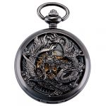 ManChDa Pocket Watch Lucky Dragon & Phoenix Vintage Mechanical Steampunk Skeleton Roman Numerals Black Fob Watch with… 17
