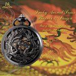 ManChDa Pocket Watch Lucky Dragon & Phoenix Vintage Mechanical Steampunk Skeleton Roman Numerals Black Fob Watch with… 20