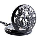 ManChDa Pocket Watch Lucky Dragon & Phoenix Vintage Mechanical Steampunk Skeleton Roman Numerals Black Fob Watch with… 22