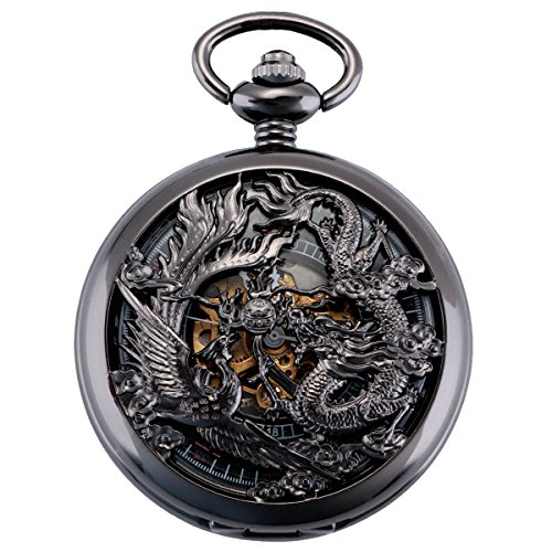 ManChDa Pocket Watch Lucky Dragon & Phoenix Vintage Mechanical Steampunk Skeleton Roman Numerals Black Fob Watch with… 1