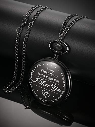 Memory Gift to My Grandson Pocket Watch, I Love You to Grandson Gift from Grandpa Grandma 3