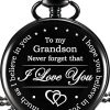 Memory Gift to My Grandson Pocket Watch, I Love You to Grandson Gift from Grandpa Grandma 10