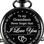 Memory Gift to My Grandson Pocket Watch, I Love You to Grandson Gift from Grandpa Grandma 17