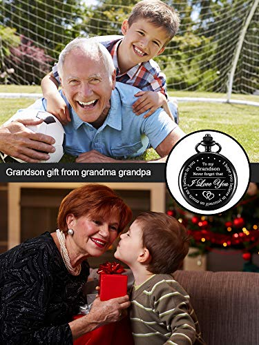 Memory Gift to My Grandson Pocket Watch, I Love You to Grandson Gift from Grandpa Grandma 6