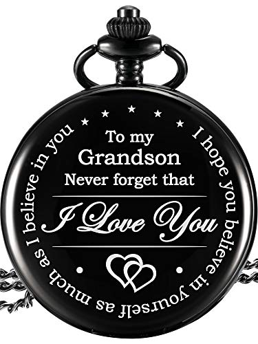 Memory Gift to My Grandson Pocket Watch, I Love You to Grandson Gift from Grandpa Grandma 2