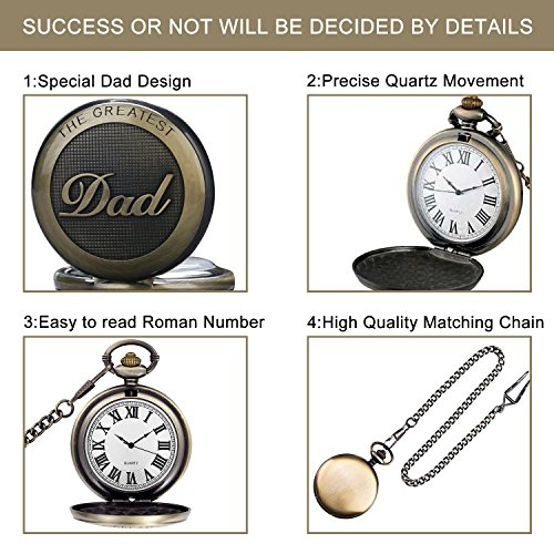 Mens Pocket Watch, Vintage Quartz Pocket Watches with Chain for Men, Pendant Pocket Watch for The Greatest Dad… 3