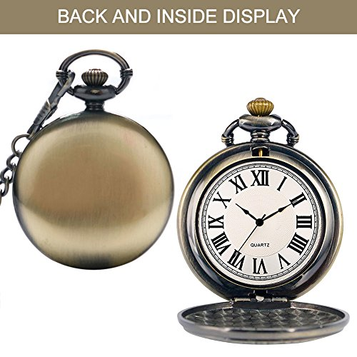 Mens Pocket Watch, Vintage Quartz Pocket Watches with Chain for Men, Pendant Pocket Watch for The Greatest Dad… 4