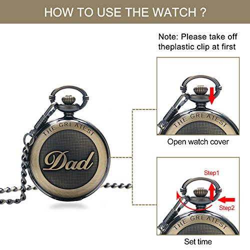 Mens Pocket Watch, Vintage Quartz Pocket Watches with Chain for Men, Pendant Pocket Watch for The Greatest Dad… 6