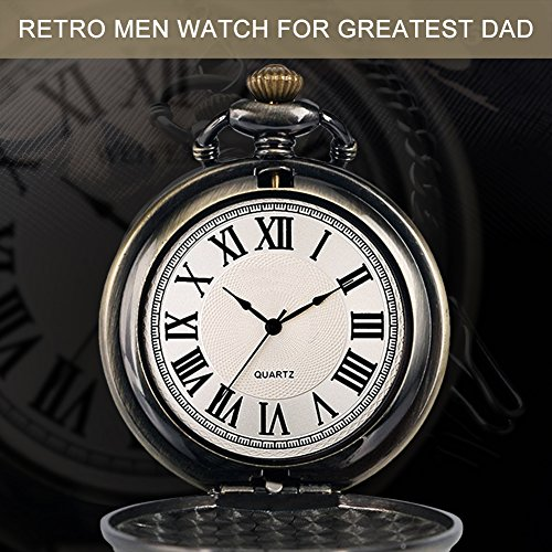 Mens Pocket Watch, Vintage Quartz Pocket Watches with Chain for Men, Pendant Pocket Watch for The Greatest Dad… 8