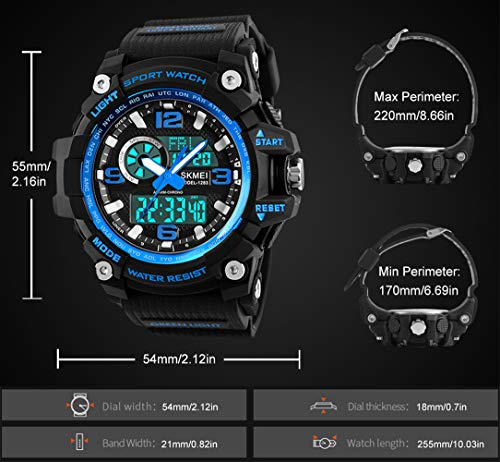 Mens Sports Watch, 5 ATM Waterproof Digital Military Watches with Countdown/Timer/Alarm for Men, Shock Resistant LED… 4