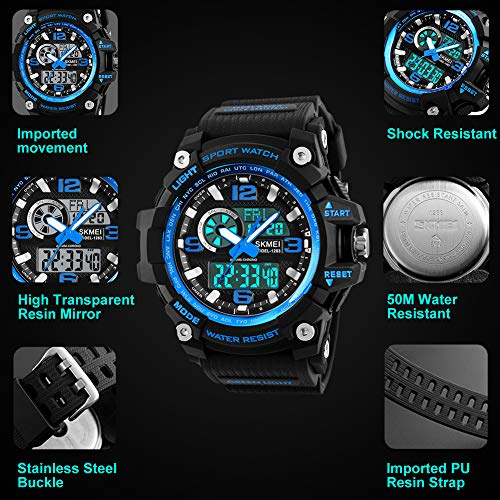 Mens Sports Watch, 5 ATM Waterproof Digital Military Watches with Countdown/Timer/Alarm for Men, Shock Resistant LED… 5