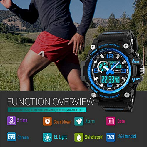 Mens Sports Watch, 5 ATM Waterproof Digital Military Watches with Countdown/Timer/Alarm for Men, Shock Resistant LED… 6