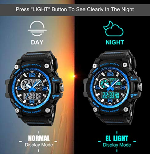Mens Sports Watch, 5 ATM Waterproof Digital Military Watches with Countdown/Timer/Alarm for Men, Shock Resistant LED… 7