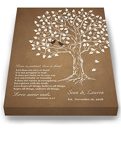 MuralMax Personalized Anniversary Family Tree Artwork - Love is Patient Love Is Kind Bible Verse - Unique Wedding… 3