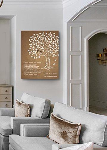 MuralMax Personalized Anniversary Family Tree Artwork - Love is Patient Love Is Kind Bible Verse - Unique Wedding… 6