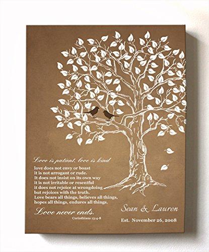 MuralMax Personalized Anniversary Family Tree Artwork - Love is Patient Love Is Kind Bible Verse - Unique Wedding… 1