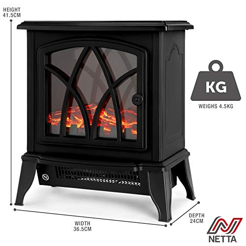 NETTA Electric Fireplace Stove Heater 2000W with Fire Flame Effect, Freestanding Portable Electric Log Wood Burner… 4