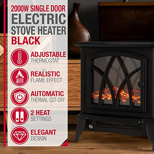 NETTA Electric Fireplace Stove Heater 2000W with Fire Flame Effect, Freestanding Portable Electric Log Wood Burner… 6