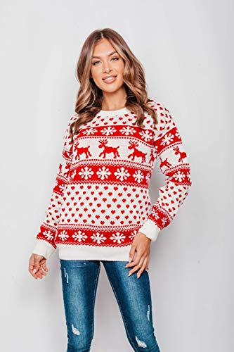 New Unisex Ladies Men Kids Christmas Jumper Reindeer Snowflakes Knitted Xmas Long Sweater Top 5