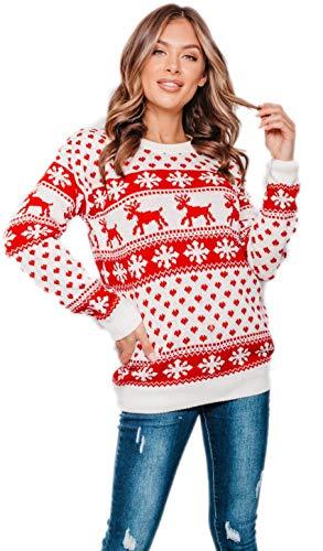 New Unisex Ladies Men Kids Christmas Jumper Reindeer Snowflakes Knitted Xmas Long Sweater Top 1
