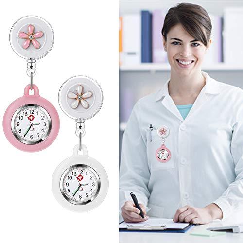 Nurse Fob Watch, Vintoney Retractable Clip-on Hanging Lapel Nurse Watch with Silicone Cover Brooch Badge Reel… 4