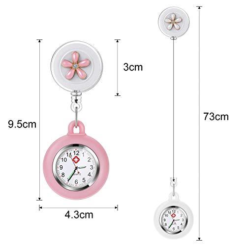 Nurse Fob Watch, Vintoney Retractable Clip-on Hanging Lapel Nurse Watch with Silicone Cover Brooch Badge Reel… 5