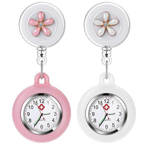 Nurse Fob Watch, Vintoney Retractable Clip-on Hanging Lapel Nurse Watch with Silicone Cover Brooch Badge Reel… 1
