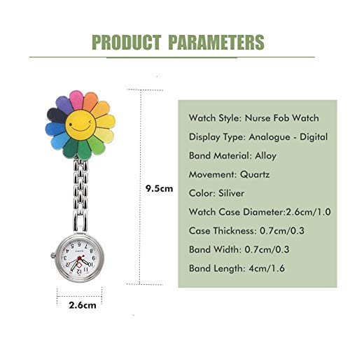 Nurses Fob Watch, Medical Fob Pocket Watches with Clip On Brooch Hanging for Men Women Doctor Nurses Paramedic Silver 4