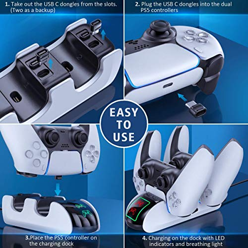 OIVO PS5 Controller Charger, Controller Charging Dock with 4 USB C Dongles and LED Strap for Sony Playstation 5, Fast… 8