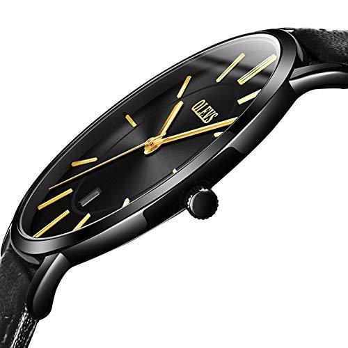 OLEVS Women Wrist Watches Ultra Thin 6.5mm Minimalist Business Dress Waterproof & Date & Leather Strap Slim Watches for… 3