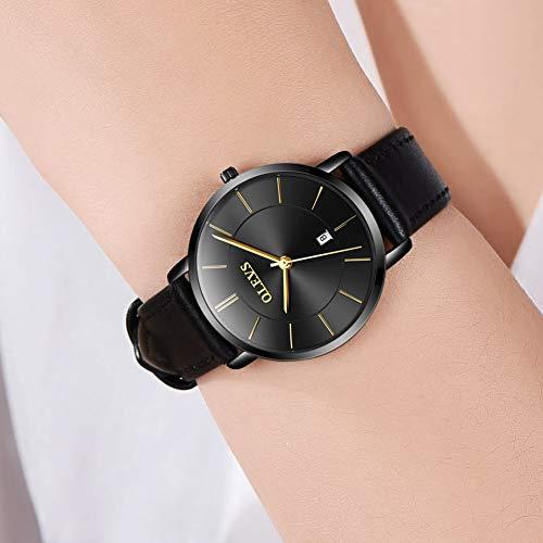 OLEVS Women Wrist Watches Ultra Thin 6.5mm Minimalist Business Dress Waterproof & Date & Leather Strap Slim Watches for… 4