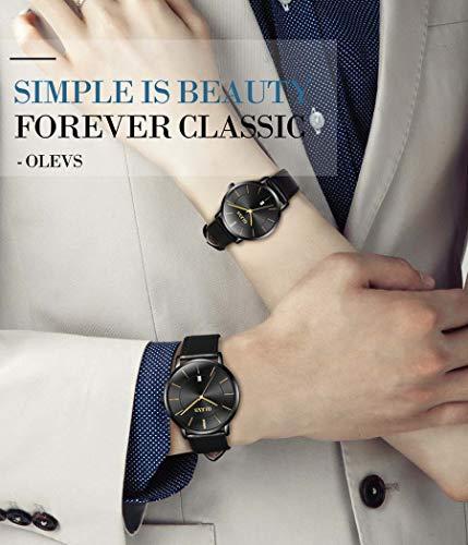 OLEVS Women Wrist Watches Ultra Thin 6.5mm Minimalist Business Dress Waterproof & Date & Leather Strap Slim Watches for… 5