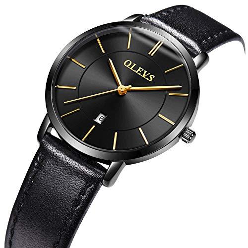 OLEVS Women Wrist Watches Ultra Thin 6.5mm Minimalist Business Dress Waterproof & Date & Leather Strap Slim Watches for… 6