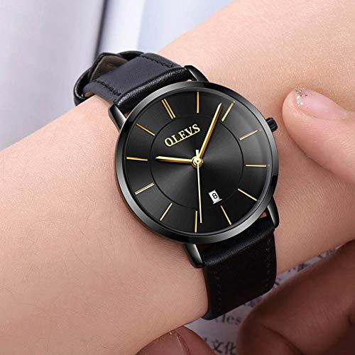 OLEVS Women Wrist Watches Ultra Thin 6.5mm Minimalist Business Dress Waterproof & Date & Leather Strap Slim Watches for… 7