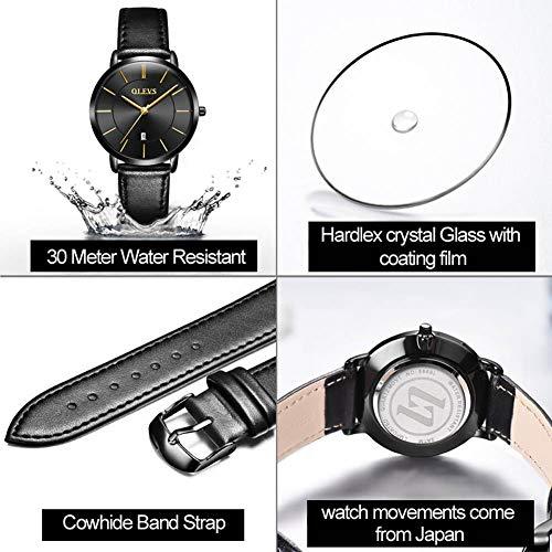 OLEVS Women Wrist Watches Ultra Thin 6.5mm Minimalist Business Dress Waterproof & Date & Leather Strap Slim Watches for… 8