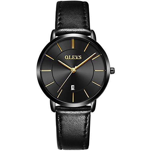 OLEVS Women Wrist Watches Ultra Thin 6.5mm Minimalist Business Dress Waterproof & Date & Leather Strap Slim Watches for… 1